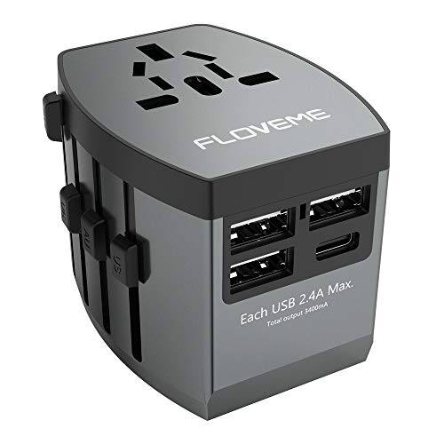 - All in One Universal Travel Adapter, FLOVEME W/High Speed 3 USB Charging Ports + Type C USB Wall Charger,Perfect International Travel Adapter and Converter,Worldwide AC Outlet Power Plug Adapters,Gray