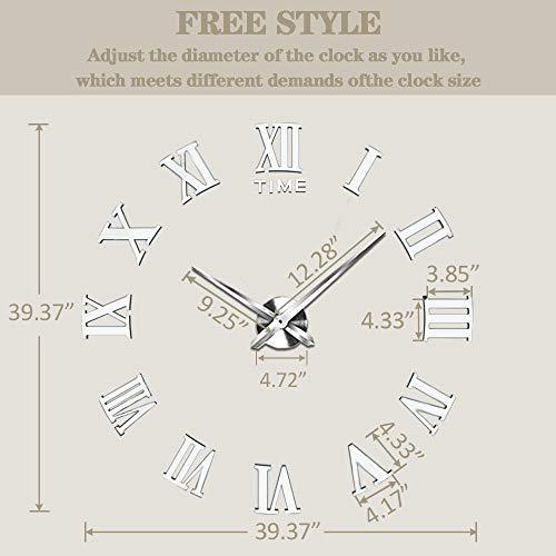 VANGOLD Large 3D DIY Wall Clock Roman Numerals Clock Frameless Mirror Surface Wall Sticker Home Decor for Living Room… 2