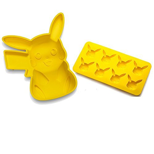 Think Geek Silicone Molds for Pokémon Pikachu lovers, A Silicone Birthday Cake Pan, and a Fondant or Chocolate Mold Set for birthday parties and after party ice cubes or candy treats