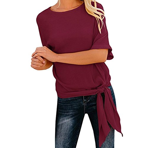 UONQD Woman Womens Casual Basic Knot Tie Front Loose Fit Half Sleeve Tee Top T-Shirt Blouse