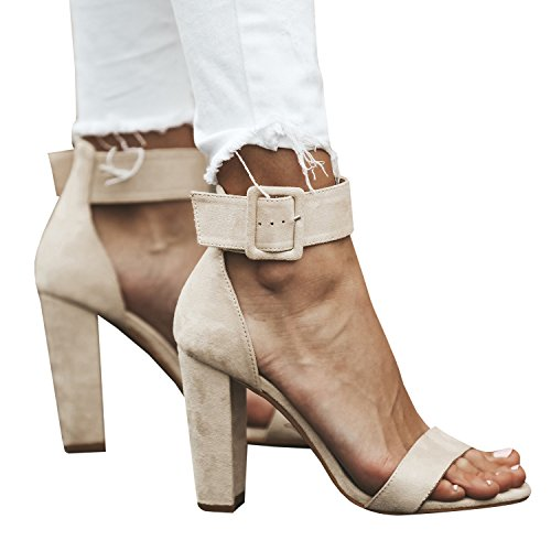 FISACE Women Open Toe Square Heels Suede Ankle Leg Booties High Heel Sandals Shoes White 8jPSWycbG2