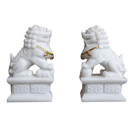A Pair of Chinese Stone Beijing Lions Pair Fu Foo Dogs Statues,White Guardian,Feng Shui Decor,for Home and Office, Attract Wealth and Good Luck,Best Gift