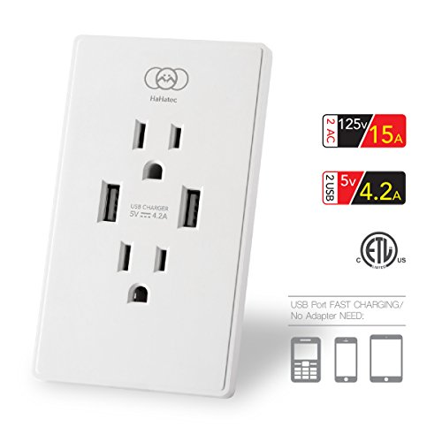 5A Wall Outlet Smart Ultra High Speed Dual USB Charger Screwless Wall Receptacle Plate duplex USB receptacle Tamper-Resistant Outlet ETL 5V 4.2 Amp, White (High-Gloss surface) (Tamper Resistant Window)