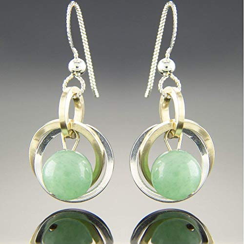 Petite Light Sage Green Aventurine Gemstone Earrings With Silver and Yellow 14K Gold Fill Circles ()