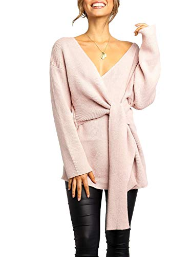 ersized Sweater Dresses Sexy Wrap V Neck Knit Sweaters Fall Batwing Long Sleeves Jumper Pink ()