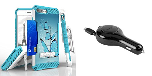 Apple iPhone 8 Plus / 7 Plus - Accessory Bundle: [Blue Butterflies] Dual Layer Shockproof [Military Grade] Protective Case, [Apple MFI Certified] 10W Retractable Lightning Car Charger, Atom LED (Blue Butterfly Charger)