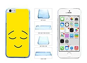 Bright Yellow Smiley Face with Eyebrows and Eyes Closed Clear Plastic Phone Case Back Cover Apple iPhone 6 Plus (5.5 inches)