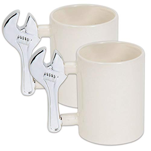 Bits and Pieces - The Handyman Wrench Coffee Mug Set of Two - Jumbo Size Mug Holds 14 oz - Great Gift Coffee Cup