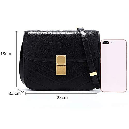 Hzlwzz Shoulder la Version coréenne de simple Bag Leather cuir messager de en femmes sauvage noir housse Nouvelles vert de Wax sac rPrwEqA