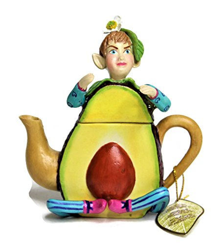 Miniature Fairy Garden Ceramic Porcelain Decoration Accessories Fairy Boy/Pixie in Vegetable Teapot Shape Approx Size 4 inches Tall Also Perfect As Trinket Box or Tooth Fairy Box Avocado