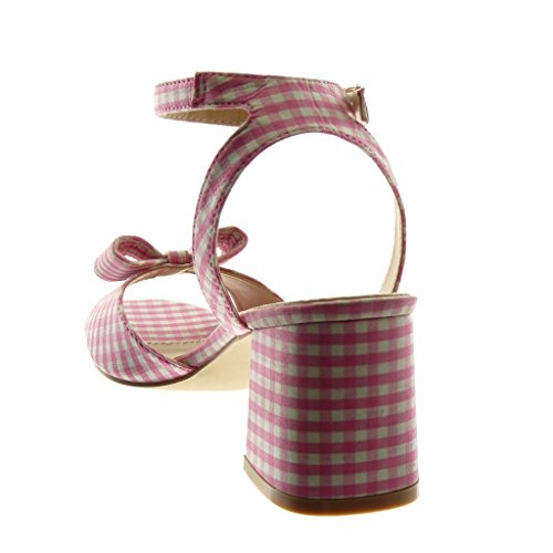 Angkorly Cm Lanière Haut Femme Sandale Mode Rose Cheville Noeud 7 Bloc Vichy Mule Talon Chaussure rIprqO