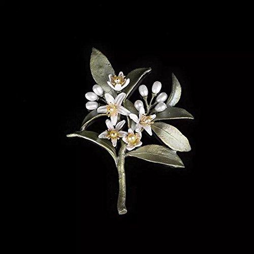 TKHNE Custom orange blossom brooch pin badge women girls designer vintage leaves natural pearl elegant temperament corsage pin high-end