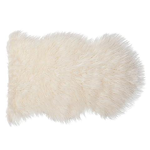 SLPR Home Collection Faux Fur Ivory/White Sheepskin Rug - Like Real - Single Pelt (2' x 3') (Fox Fur Rug)