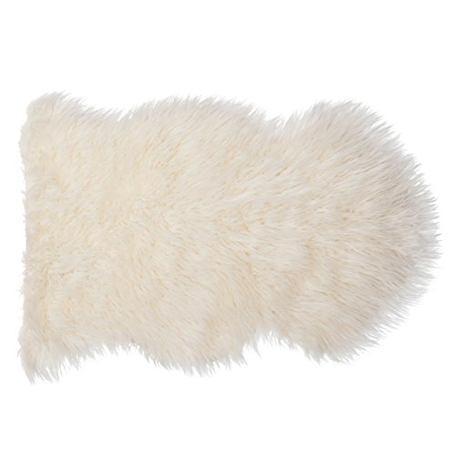 SLPR-Home-Collection-Faux-Fur-IvoryWhite-Sheepskin-Rug-Like-Real-Single-Pelt-2-x-3