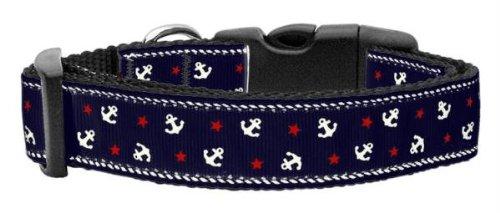 Anchors Nylon Leash Ribbon (Mirage Pet Products Anchors Nylon Ribbon Collar for Pets, Medium, Blue)