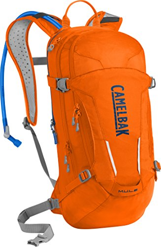 CamelBak M.U.L.E. Crux Reservoir Hydration Pack, Laser Orange /Pitch Blue, 3 L/100 oz (Camelbak Water Packs)