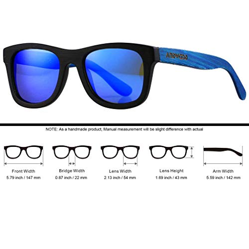 Mirrored Blue Lens Homme Lunettes de Bamboo soleil ANDWOOD Black ApWwg60FAq