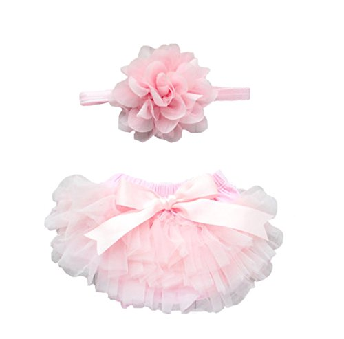 Ruffle Tutu Bloomer & Lace Flower Infant Headband Set, Newborn Baby Girl, Ballet Pink Couture Baby Shower