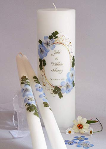 Traditional Unity Candle - Vintage Blue Hydrangea Wedding Unity Candles