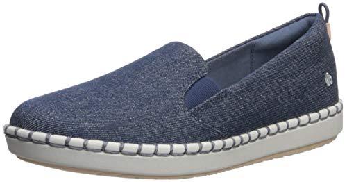 CLARKS Women's Step Glow Slip Loafer Flat, Denim Textile, 090 M US