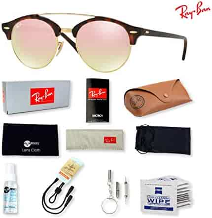 2c32cb0046 Ray-Ban RB4346 Clubround Double Bridge Sunglasses with Deluxe Eyewear  Accessories Bundle