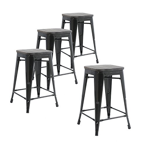 Buschman Set of Four Black Wooden Seat 24 Inches Counter Height Metal Bar Stools, Indoor, Outdoor, Stackable