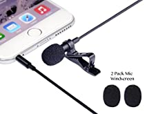 Ledinus Lavalier Lapel Microphone Clip-on Omnidirectional Condenser Mic Sound Interview Video Conference Recording Mircrophone for Apple iPhone,iPad,iPod Touch,Samsung Android&Windows Smartphones