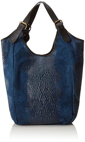 CTM El bolso de la mujer, bolso de mano en una verdadera bolsa de cuero italiano hecho en Italia, Animal Print Estilo 46x37x5 Cm Azul (Blu)