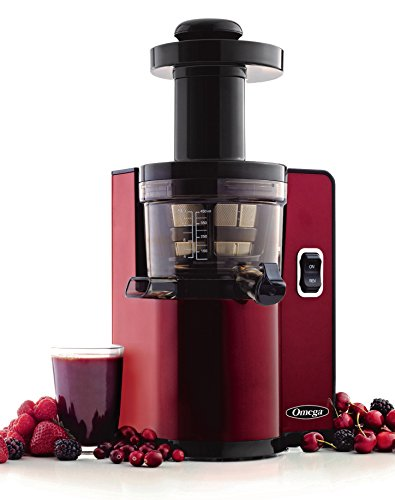Omega Juicers VSJ843QR Vertical Slow Masticating Juicer Makes Fresh Fruit and Vegetable Juice at 43 Revolutions per Minute, 150-Watt, Red