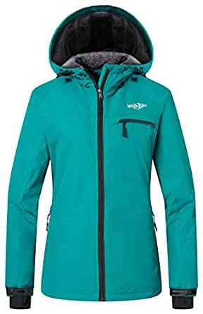 Wantdo Women's Hooded Windbreaker Rain Coat Mountain Fleece Ski Jacket(Blue,Large)