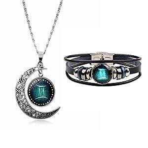 JczR.Y Hollow Crescent Constellation Necklace Pendant Vintage Woven Leather Bracelet Bangle for Women Men Fashion Jewelry 2Pcs/Set (Gemini)