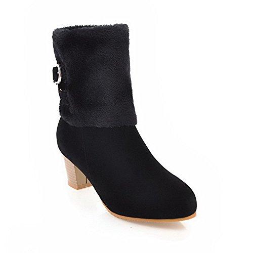 Metal Buckles Black Womens BalaMasa Mid ABL10671 Boots Fringed Urethane Calf q17Eg4