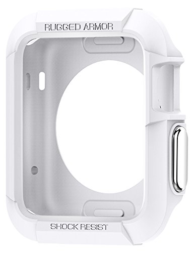 Spigen Rugged Armor Apple Watch Case 42mm with Resilient Shock Absorption and 2 Screen Protectors Included for 42mm Apple Watch Series 2 / 1 / Original (2015) - White
