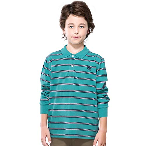 - Leo&Lily Boys Long Sleeves Striped Cardigan Rugby Pique Polo Shirt (Green Stripes,10)