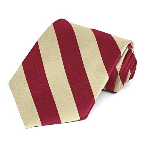- TieMart Crimson Red and Cream Striped Tie