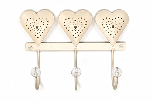 Headbourne HR0213C Hearts Wall Mount Hook Rack, 3, White (Jeweled Coat Rack)