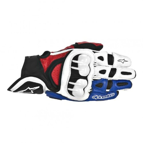 Alpinestars GPX Leather Gloves - Small/White/Red/Blue (Leather Gpx Alpinestars)