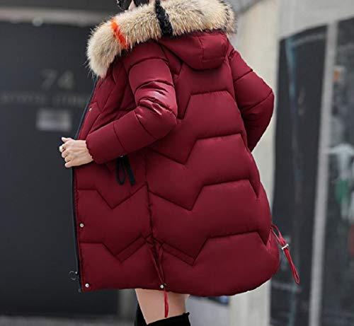Con Delle Soprabito Eco Cappuccio pelliccia Allentato Trapuntata Giacca Vino Sankt lungo Rosso Di Medio Donne ATxT7tqwU5