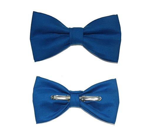 Boys Pacific Blue Clip On Cotton Bow Tie