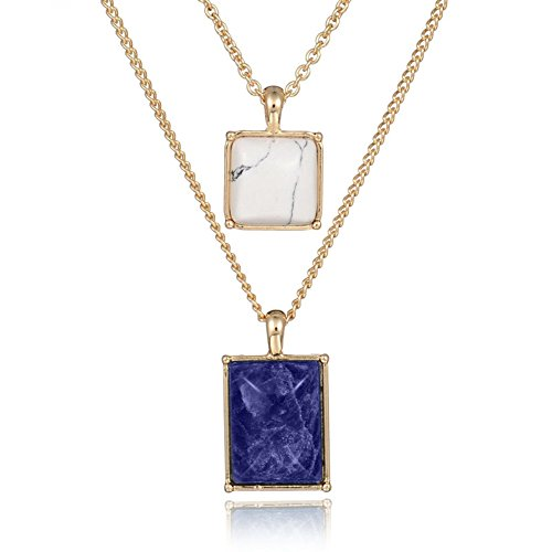 Retro Geometric Square Crystal Pendant Collar Double Chains Simple Choker Necklace Layered ()