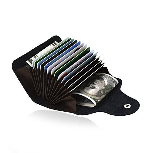Card Case Mini Wallet - Credit Card Organizer Wallet Small Money Cases Holder Genuine Leather Mini Purse for Men Women,Black