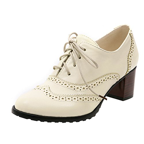 Oxfords Beige Time Shoes Heel Mid Womens up Shoes Brogue Lace Dear 4wqxTFF