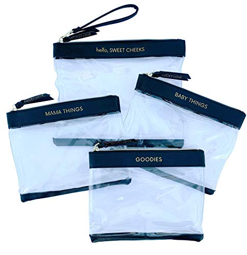 Lucky Love Diaper Bag Organizing Pouches  Set of 4 Including Diaper Clutch  Waterproof Dry Wet Bag for Baby Travel (Set of 4, Black & Clear)