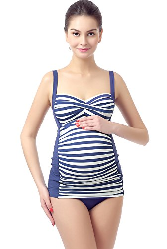 Momo Maternity UPF 50+ Swim Tankini & Bottom 2-Piece Set - L Navy/Ivory