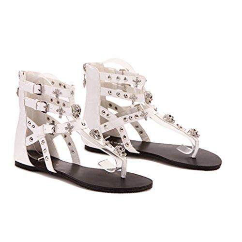 NiSeng Mujer Verano Clip Del Dedo Del Sandals T-Correa Abrir Con Punta De Sandalias Blanco