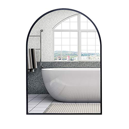 Bathroom mirror KUWD Arched, Hd Glass Silver Mirror, Wrought Iron Frame, Explosion-Proof -