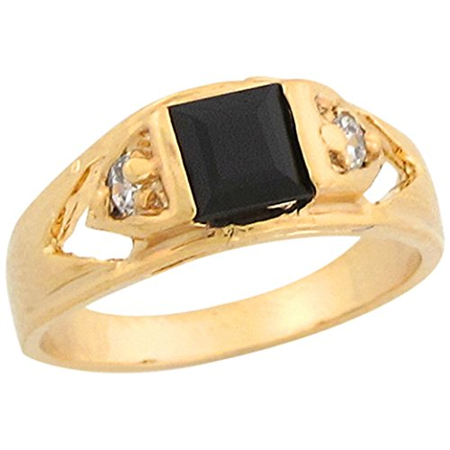 14k Real Yellow Gold Black & White CZ Square Stylish Baby Ring by Jewelry Liquidation