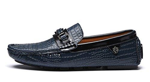 Tda Mens Nouvelle Mode Glisser Sur Le Cuir De Crocodile Conduite Entreprise Penny Mocassins Bateau Chaussures Bleu