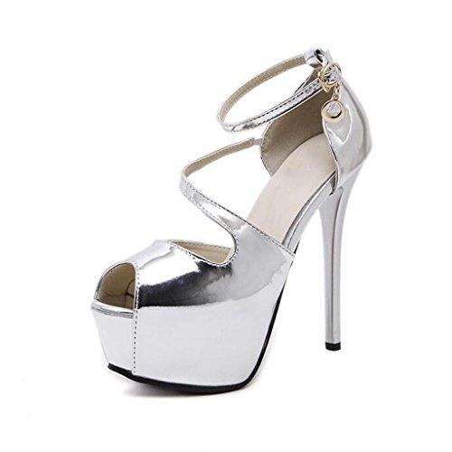 W&LM Sra Tacones altos Sandalias Zapatos de boda Es bueno Boca rasa Zapato Plataforma a prueba de agua Zapatos de la boca de los pescados Sandalias Silver