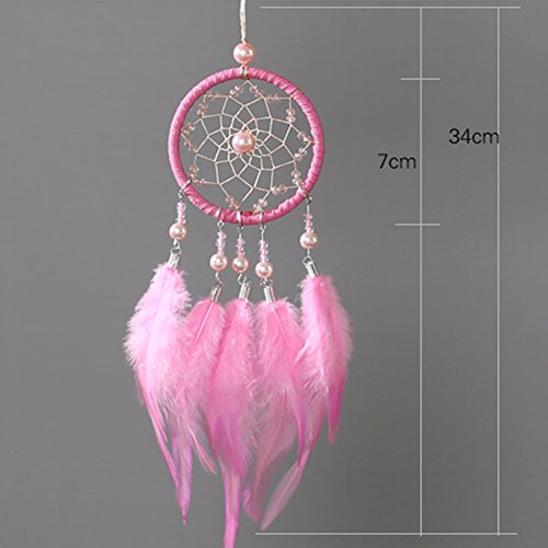 Per Mini Handmade Dream Catchers Wind Chimes Dreamcatcher Net Hanging Decoration Ornament For Room Car (2.713.54in)-Pink by Per (Image #6)